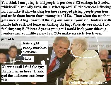 An old lady gives President Bush a piece of her mind. 060505