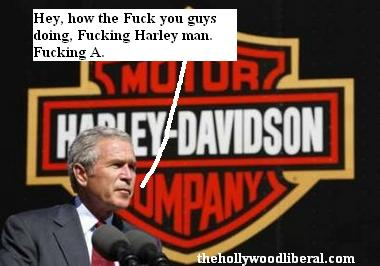 Bush makes a speech at a Harley Davidson factory