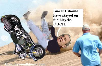 Bush crashes and burns a Harley Davidson
