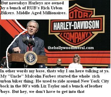 Bush talks about the econony with a bunch of Harley Davidson employees