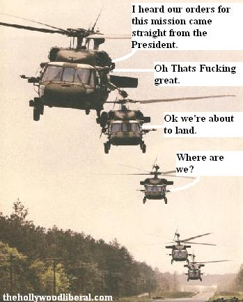 Army Helicopters land on a secret mission