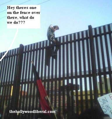 Mexican illegal alien climbs fence Vincente Fox don't like that