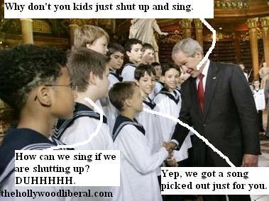 George W. Bush meets The Vienna boys choir in Austria