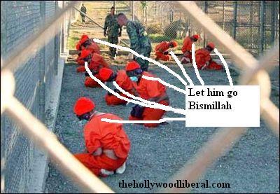 Guantanamo Prisoners in orange jumpsuits