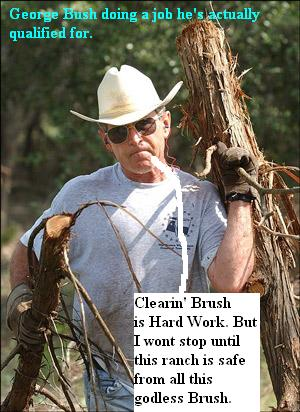 President Bush takes time from his busy schedule to clear brush at his texas ranch 042605