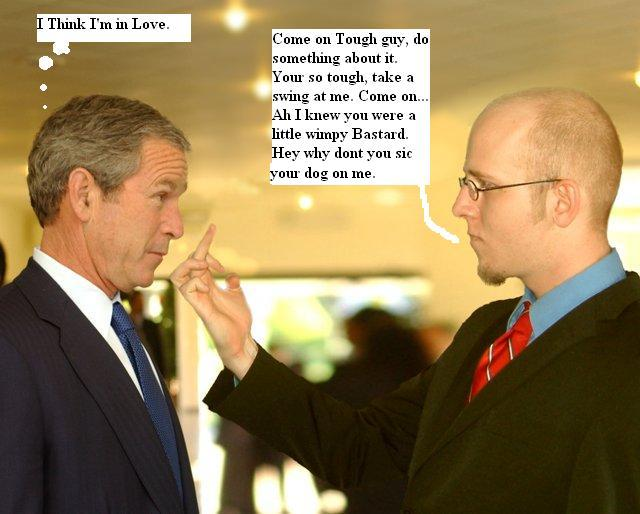 President Bush comes face to face with an admirer 042605