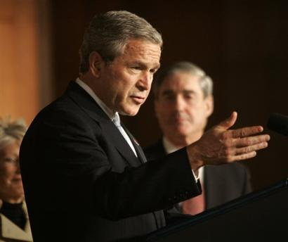 Bush talks to the hand in the story called Bush vows not to ignore economic problems. with liberal embellishments from H.L. from Hollywood, check it out on the 12/18/04 page in the back issue's