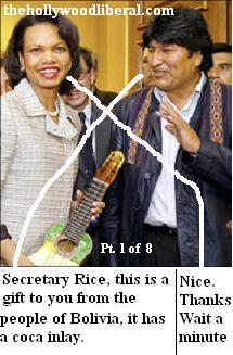 Condeleeza Rice gets a gift of a coca inlay guitar from Evo Morales President of Bolivia