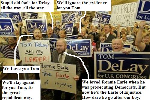 a group of Tom Delay supporters meets the indicted congressman in texas