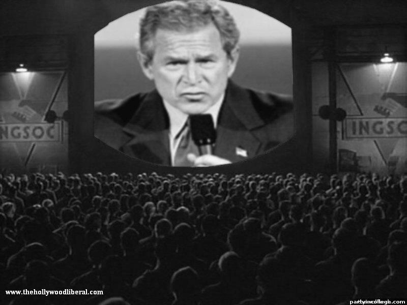 Time now for a message from the leader. George W. Bush plays 1984