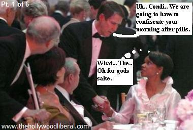 Condi Rice at a dinner for Nancy Reagan meets Bill Frist 051205