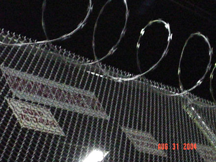 razor wire fence in Guantanamo on the hudson in NYC