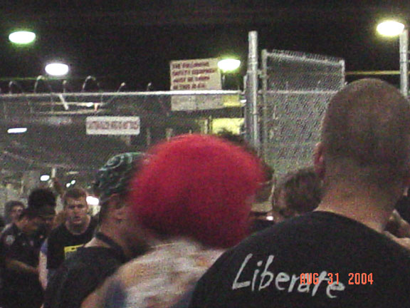 a crowded cage Pier 15 in New York Republican convention 2004