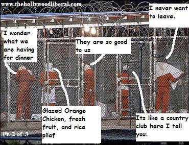The Prisioners at Guantanamo, Getting ready for dinner of Glazed Chicken, Fresh Fruit, and Rice Pilaf