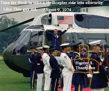 Hunter S. Thompson makes sure Nixon gets in the Helicopter August 9, 1974