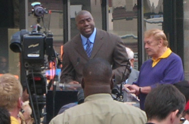 Magic Johnson and Jerry Buss at Walk of fame ceremony