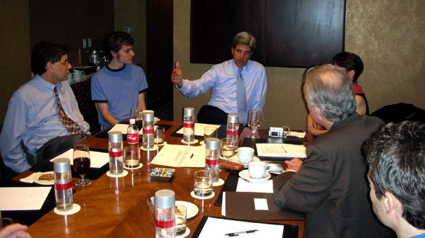John Kerry speaks to bloggers in L.A. after Pacific Council meeting