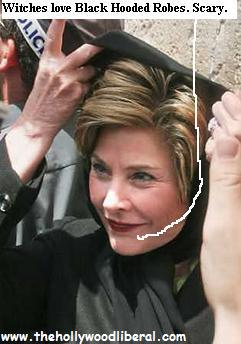 Laura Bush loves to wear hooded black robes 052305