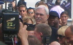 Lakers coach Phil Jackson at Jerry Buss walk of fame ceremony