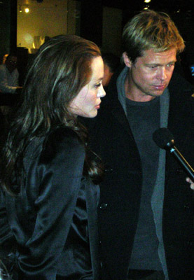 Brad Pitt & Angelina Jolie at L.A. movie premier border=