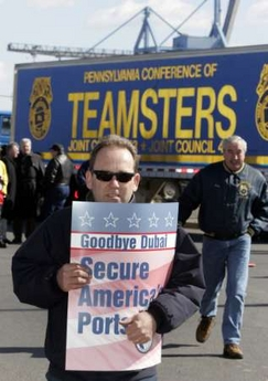 dock workers protest President Bush's ports deal with arabs
