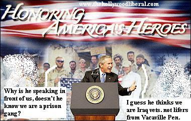 The Presdent gives a speech in front of a prison gang to introduce his new plan to get more soldiers to iraq 082805
