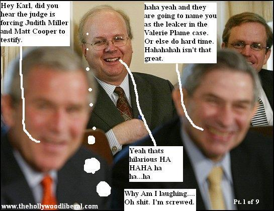Karl Rove, President Bush, and Paul Wolfowitz take a meeting 070505