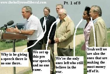 President Bush makes speech, Crawford Ranch. Cheney, Condi Rice, Rumsfeld attend 081805
