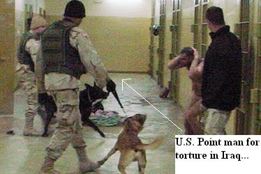 Sgt. Santos Cardona at abu gharib with dog