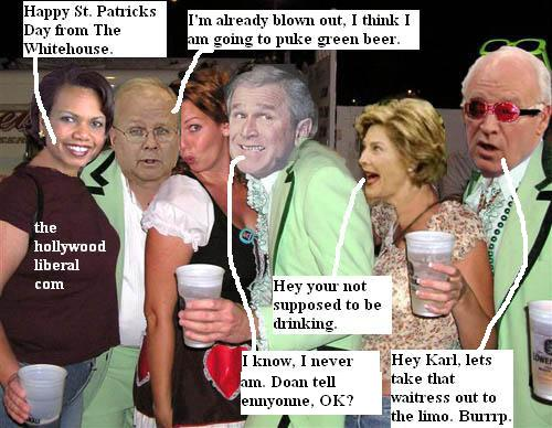 President Bush, Condi Rice, Laura Bush, and Karl Rove celebrate St. Patricks day