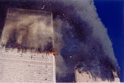World Trade center burns on 9/11/01